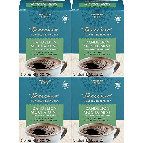 Teeccino Dandelion Tea – Mocha Mint – Rich & Roasted Herbal Tea That's Caffeine Free & Prebiotic with Detoxifying…