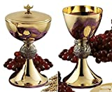 Stratford Chapel Gold Tone Loaves and Fish Chalice and Paten with Ciborium and Cover Set, 8 Inch