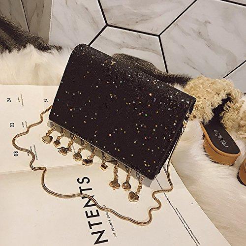 Chic Couvrant Mini Sac obliquité Mode Sac ZHANGJIA chaîne Fille Petit Bonds Sac épaule black Unique Plusieurs qXSnERwv4