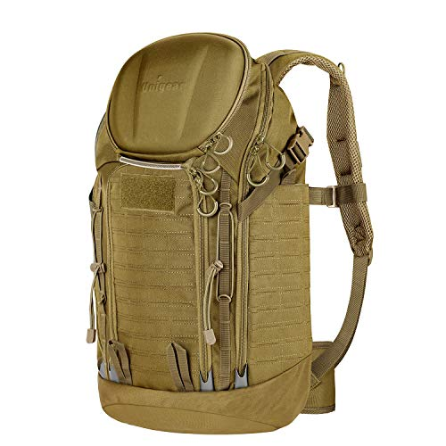 Unigear Tactical Backpacks 900D with MOLLE System, 40L Military Assault Backpacks for 3 Days Hiking, Hunting, Camping (Tan)