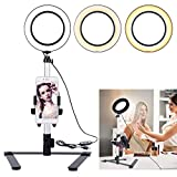 """B-Land 5.7"""" Ring Light with Desktop Stand for YouTube Video and Makeup, Mini LED Camera Light with Cell Phone Holder Table Top LED Lamp with 3 Light Modes & 11 Brightness Level"""