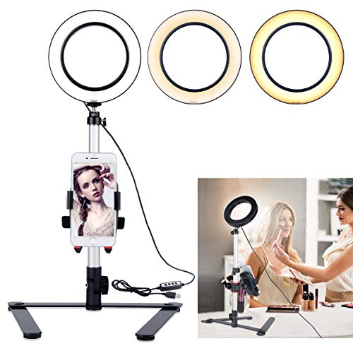 """B-Land 5.7"""" Ring Light with Desktop Stand for YouTube Video and Makeup, Mini LED Camera Light with Cell Phone Holder Table Top LED Lamp with 3 Light Modes & 11 ()"""