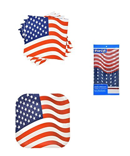 Patriotic Party Supplies Memorial Day Or 4th of July Bundle of 3 Items - Plates, Napkins & Tablecloth - Ivy Luncheon Plate
