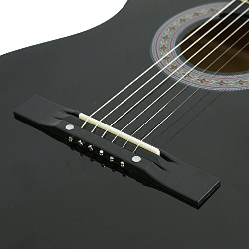 smartxchoices 38 black beginners acoustic guitar 6 string wooden guitar for starter dummies. Black Bedroom Furniture Sets. Home Design Ideas