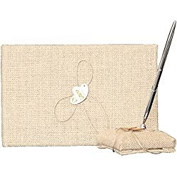 LAPUDA Linen wood double wedding flower girl baskets,Ring pillow,wedding guests book and Pen holder (1 pen and 1 book)