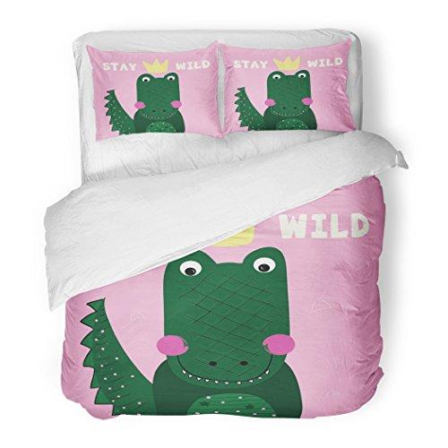 SanChic Duvet Cover Set Green Adventure Alligator Africa Animal Baby Badges Boys Decorative Bedding Set Pillow Sham Twin Size by SanChic