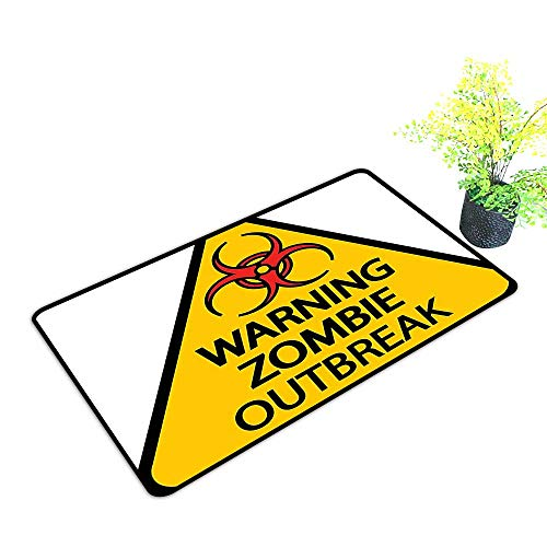 Front Welcome Entrance Door Mats Warning Zombie Outbreak Sign Cemetery Infection Halloween Graphic Earth Yellow Red Black Home Decor Rug Mats W23 x H17 -