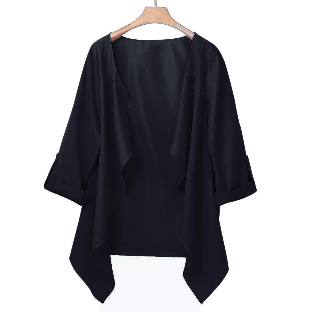 XILALU Women Autumn Spring Solid Long Sleeve Loose Plus Coat Cardigan