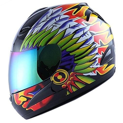 WOW Motorcycle Full Face Helmet Street Bike Chief Indian Black