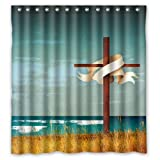 Fashion Custom Power of the Holy Cross Beautiful Scenery Waterproof Polyester Fabric Shower Curtain 66 x 72