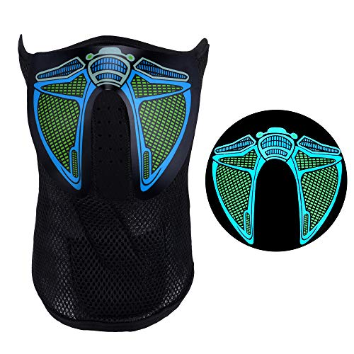 HITOP Sound Reactive LED Mask, Luminous Light Up for Men Women Rave Mask Music Sound Activated Mask for Party 2018 Halloween and Any Festival (Robot) Black ()