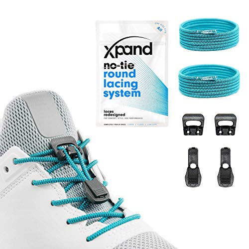 (Xpand Quick Release Round-Lacing No Tie Shoelaces System with Elastic Laces - One Size Fits All Adult and Kids Shoes)