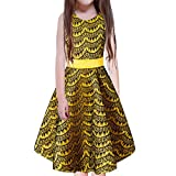 FACOCO Girls Sleeveless Skirt Kids Cute Round Neck Dress Princess Dress(Yellow 140cm(7-8 Years)