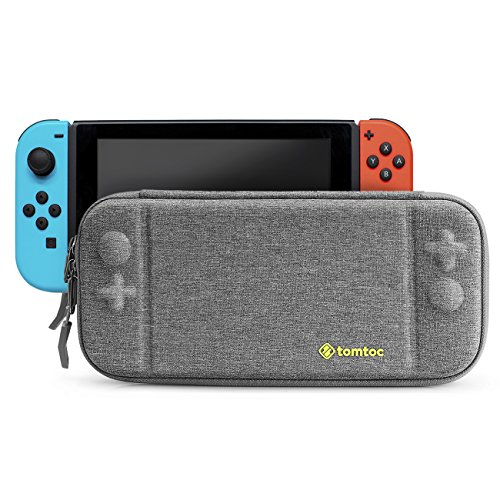 Slim Nintendo Switch Case, Tomtoc Portable Hard Shell Travel Carrying Case Cover with 8 Game Cartridges and an Accessories Pouch for Nintendo Switch Console - New Arrival, Gray