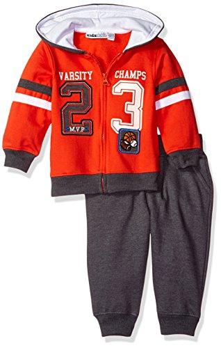 Kids Headquarters Baby 2 Pieces Hooded Fleece Pants Set, Orange, 12 Months