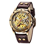Carrie Hughes Men's Bronze Skeleton Steampunk Automatic Mechanical Leather Watch 6