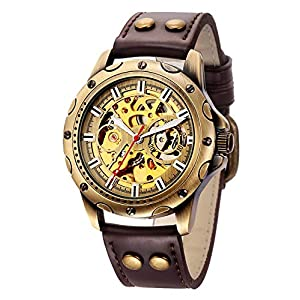 Carrie Hughes Men's Bronze Skeleton Steampunk Automatic Mechanical Leather Watch BTMAN53