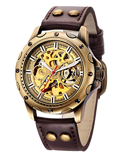Carrie Hughes Men's Steampunk Bronze Skeleton Automatic Mechanical Stainless Steel Leather Watch - Bronze Men Watches
