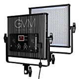 LED Video Light metal panel GVM-520LS CRI97 & TLCI9718500lux Bi-color 3200-5600K professional for Interview studio photography lighting, Black