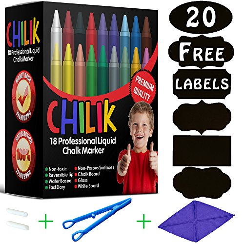 CHILIK Liquid Chalk Markers – Kids-Friendly, Non-Toxic & Easily Erasable Japanese Ink, Reversible Tip & 18 Vibrant Colors Including Golden & Silver – Multipurpose Chalk Pens for Chalkboard (Chalkboard Tiles Wall)