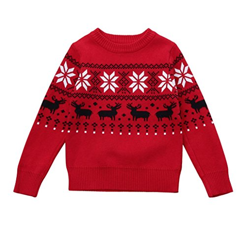 SEXYP Toddler Boys Girls Kid Baby Christmas Deer Print Sweater Knit Outerwear (5T, Red)
