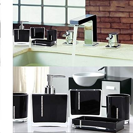 Luxus 4 Sets Acryl Badezimmer Zubehor Set Diamant Besetzt Dekoration Set Schwarz Diamant