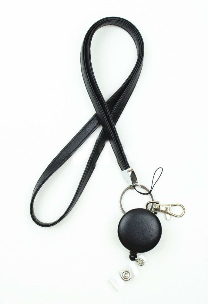 Black Leather Necklace Lanyard and Badge Reel Retractable ID Holder key chain