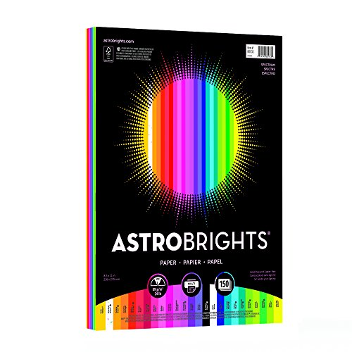 "Astrobrights Color Paper, 8.5"" x 11"", 24 lb/89 gsm,""Spectrum"" 25-Color Assortment, 150 Sheets (80933-01)"