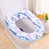 Vkenis Thicken Soft Washable Toilet Seat Cushion Warmer Mat Cover for Bathroom (Blue, Gluing)