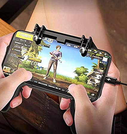 SaleOn™ 2 in 1 PUBG Mobile Game Controller and Mobile Gamepad Holder Handle  Joystick Triggers L1 R1 Shoot Aim Button(Black)-926