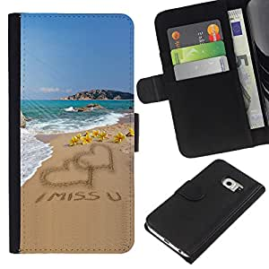Samsung Galaxy S6 EDGE SM-G925 , la tarjeta de Crédito Slots PU Funda de cuero Monedero caso cubierta de piel ( I Miss U Sand Love Heart Beach Ocean Summer)