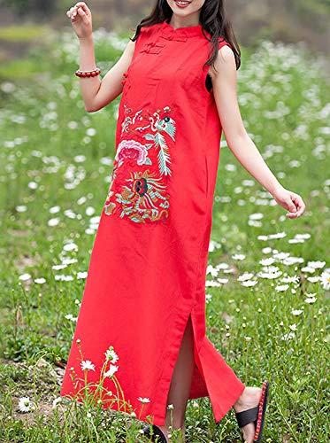 Cocktail Baumwolle Arm Ohne Maxi Leinen Rot Feiertagskleid Kleid Party Kleider Lose DISSA Retro Damen Q32208 7wqRtfR