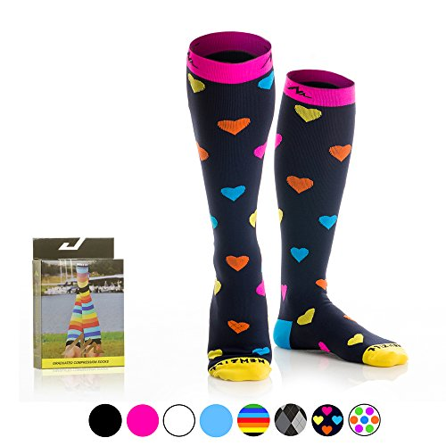 NEWZILL Compression Socks (20-30mmHg) for Men & Women - BEST Stockings for Running, Medical, Athletic, Edema, Diabetic, Varicose Veins, Travel, Pregnancy, Shin Splints. (Heart, - Female Best Triathlete