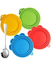 4 Pack Silicone Pet Can Cover with Spoon, FineGood Food Grade Silicone Pet Can Lid Universal Food Cover for Dog Cat Can Food- Red, Blue, Yellow, Green