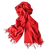 Solid Color Cashmere Feel Scarf U-LOVE Scarves Large soft Shawl wrap for womens ( Red)