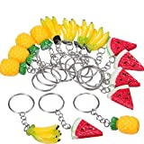 fruits party - Hestya 18 Pieces Fruit Keychains for Party Favors and Kids School Prizes, Watermelon, Pineapple, Banana Fruit Keychains