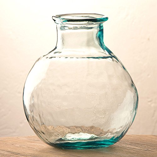 Clear Oval Recycled Glass Balloon Vase, 12'' by Vivaterra