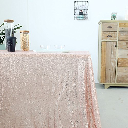 Sequin Wedding Tablecloth, Pack of 3 Rose Gold 50