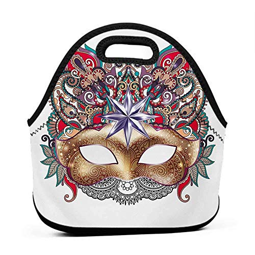 Large Size Reusable Lunch Handbag Mardi Gras,Venetian Carnival Mask Silhouette with Ornamental Elements Masquerade Costume,Multicolor,lock for lunch bag