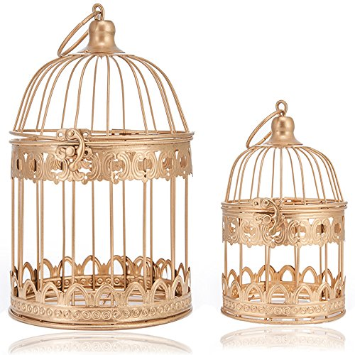 LONGBLE 2 Pcs Round Wedding Birdcages Gift Card Holder Decorative Gold Metal Wall Hanging Laterns, Candelabra, Bird Cage for Small Birds Party Home Garden Decorations -