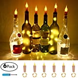 Candle Style Wine Bottle Cork String Lights,Battery Operated LED Cork Shape Silver Copper Wire Colorful Fairy Mini String Lights for DIY Party Wedding,Outdoor Indoor Decoration,6 Pack (Warm White)