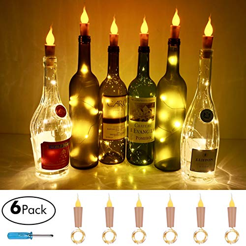 Candle Style Wine Bottle Cork String Lights,Battery Operated LED Cork Shape Silver Copper Wire Colorful Fairy Mini String Lights for DIY Party Wedding,Outdoor Indoor Decoration,6Pack (Warm White)