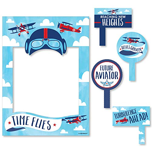 Big Dot of Happiness Taking Flight - Airplane - Vintage Plane Baby Shower or Birthday Party Selfie Photo Booth Picture Frame & Props - Printed on Sturdy Material (Airplane Frame Picture)