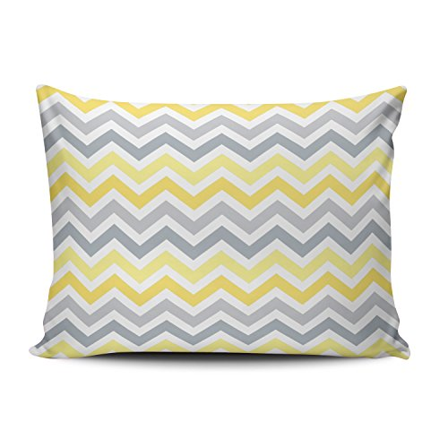 - SALLEING Romantic Fancy Yellow Gray Chevron Zigzag Stripes One Side Decorative Pillowcase Standard Zippered Throw Pillow Case Cushion Cover 20x26 inches