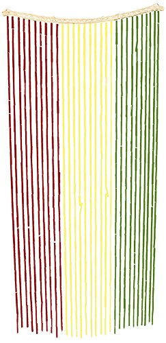 Island Dogs Bamboo Beaded Door Curtain - 3ft x 6ft - Assorted Colors (Rasta) (Tie Dye Beaded Curtain compare prices)