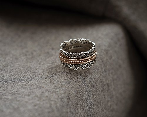 Paz Creations .925 Sterling Silver and Rose Gold over Silver Wide Spinner Ring (10), Made in Israel by PZ (Image #4)