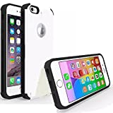 SALE! Iphone 6 6S [4.7] LIMITED STOCK,PREMIUM Slim Case Card Holder Credit White Heavy Duty Shock Impact Absorbent Bumper Rubber Plastic Skin Cover Wallet CC Hybrid Kick Stand