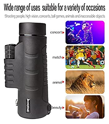 ZISHINE 40x60 HD Mini Monocular Telescope With Tripod Cell Phone Holder,Compass and Low Light Night Vision for Outdoor Birding Travel Sightseeing Hunting