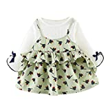 Baby Girl Autumn Cartoon Princess Dress,Jchen(TM) Newborn Infant Baby Girl Long Sleeve Cartoon Print Princess Dress for 0-24 Months (Age: 18-24 Months, Green)