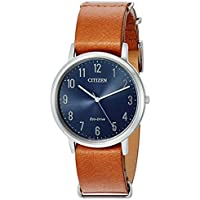 Citizen Eco-Drive Men's Chandler Leather Watch (Blue Dial, Brown Band)